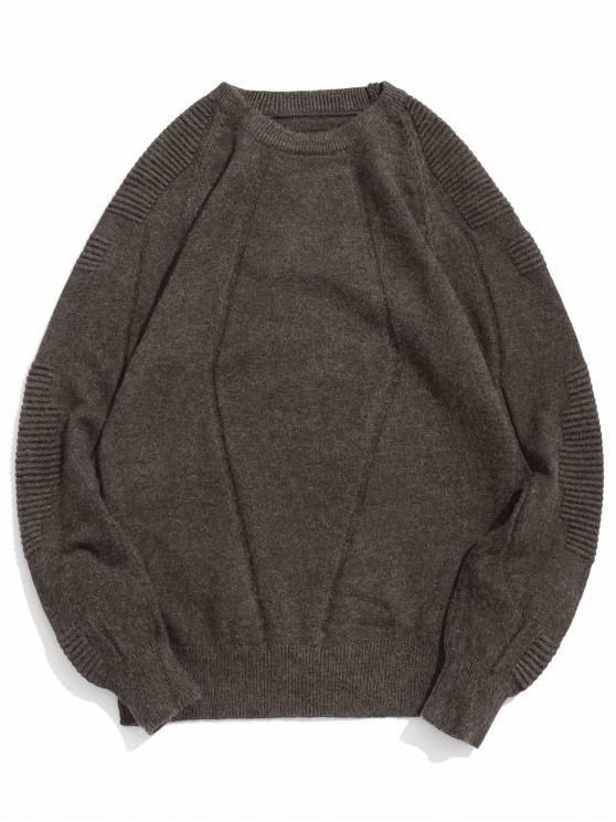 affordable Pleated Raglan Sleeve Solid Color Crew Neck Sweater - TAUPE S