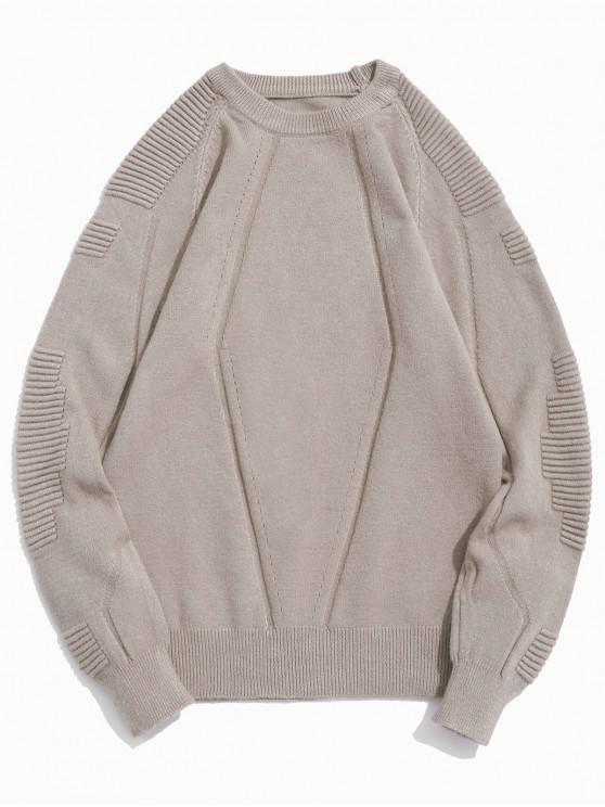 buy Pleated Raglan Sleeve Solid Color Crew Neck Sweater - ROSY BROWN XS