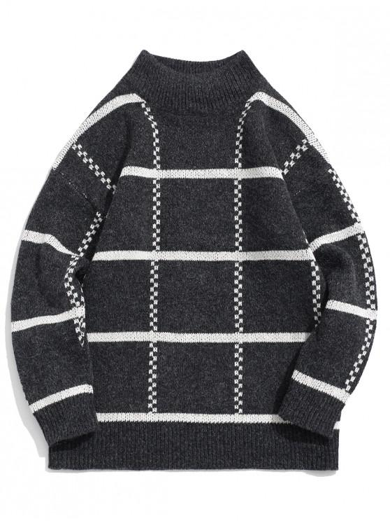 affordable High Neck Pullover Striped Sweater - DARK GRAY S