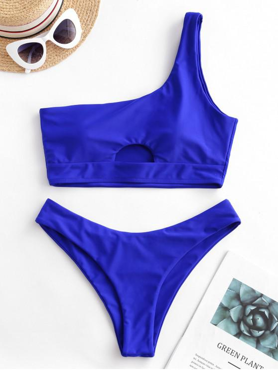 womens ZAFUL One Shoulder Hollow Out High Leg Bikini Swimsuit - COBALT BLUE L