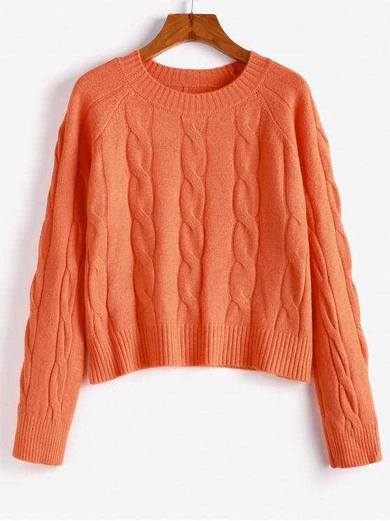 sale Cable Knit Plain Raglan Sleeve Sweater - DARK ORANGE ONE SIZE