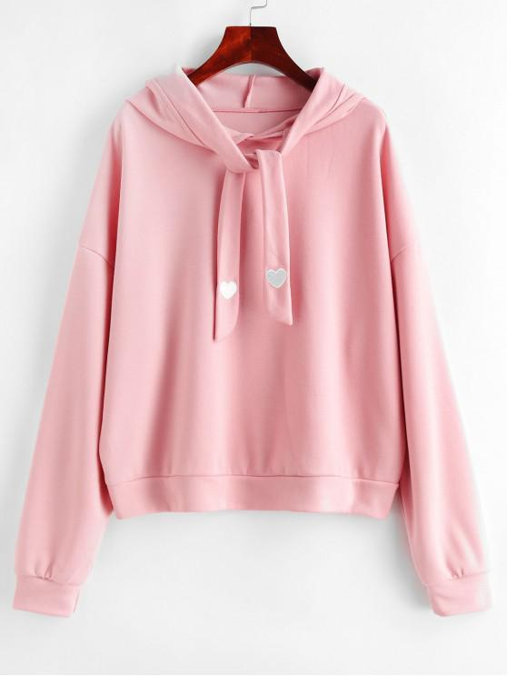 online Heart Embroidered Tie Oversized Drop Shoulder Hoodie - PINK ONE SIZE