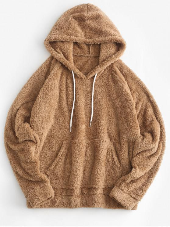 fancy Kangaroo Pocket Plain Faux Fur Hoodie - TAN L
