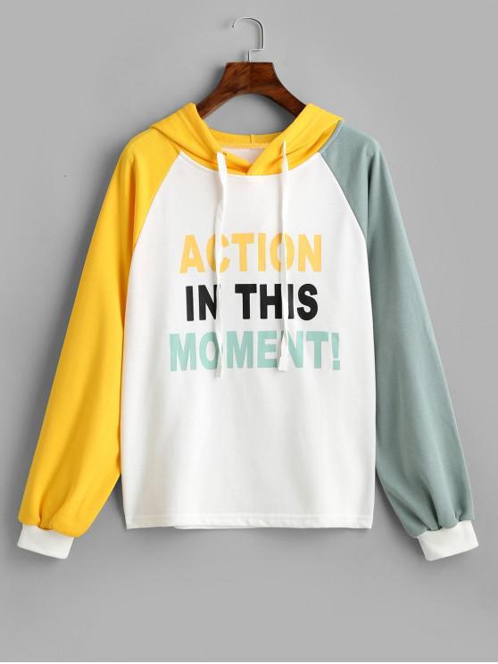 hot Slogan Print Raglan Sleeve Colorblock Hoodie - MULTI M