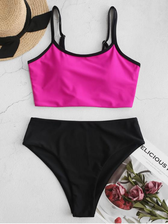lady ZAFUL Neon High Cut Double Strap Piping Tankini Swimsuit - DIMORPHOTHECA MAGENTA L
