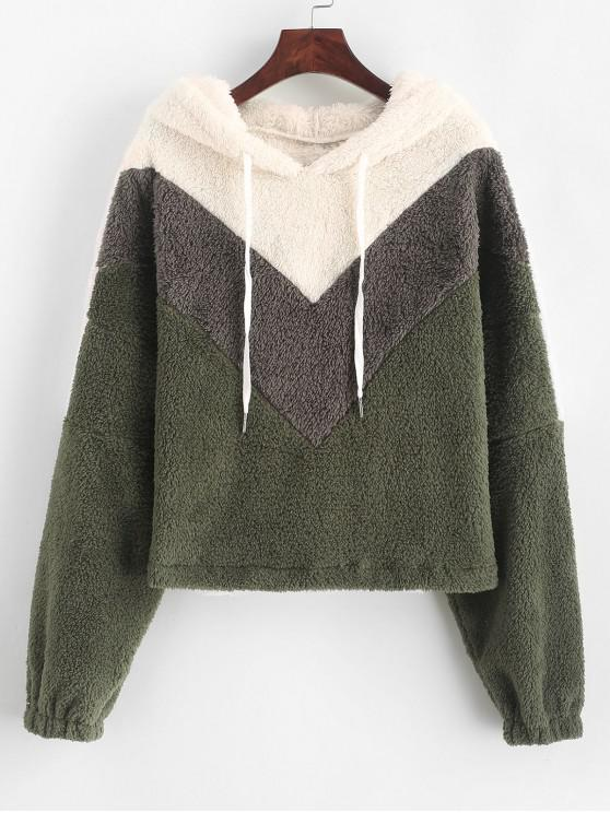 shop ZAFUL Drawstring Fluffy Faux Shearling Colorblock Hoodie - MULTI L