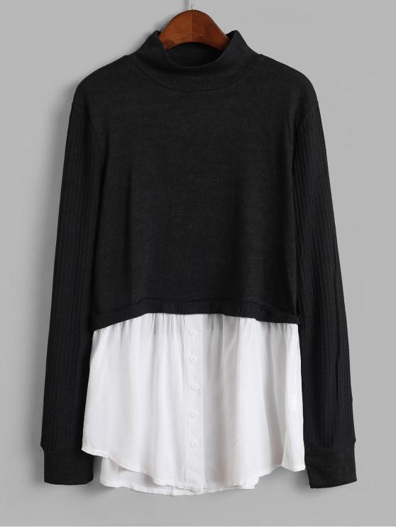 fashion Buttons Mock Neck Shirt Patched Knitwear - BLACK S