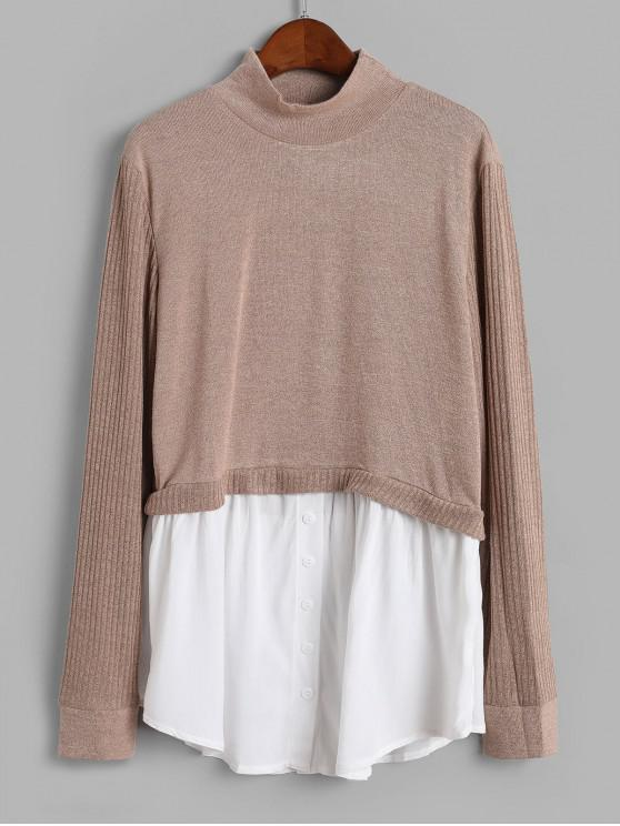 ladies Buttons Mock Neck Shirt Patched Knitwear - LIGHT KHAKI S