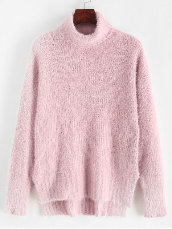 shops Turtleneck Side Slit High Low Fluffy Sweater - PINK ONE SIZE