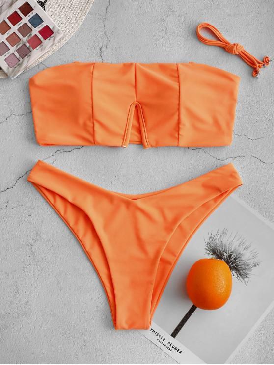 best ZAFUL Neon V-wire High Cut Bandeau Bikini Swimsuit - MANGO ORANGE L