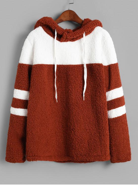 trendy Colorblock Faux Fur Drawstring Hoodie - BROWN L