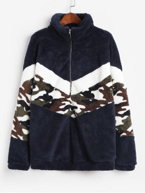new Half Zip Camouflage High Neck Fluffy Sweatshirt - DEEP BLUE M