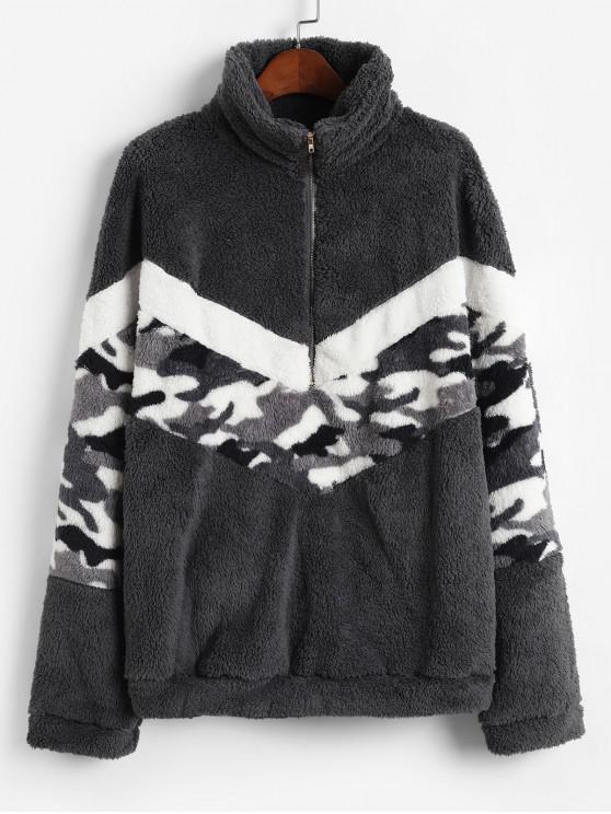 unique Half Zip Camouflage High Neck Fluffy Sweatshirt - DARK GRAY XL