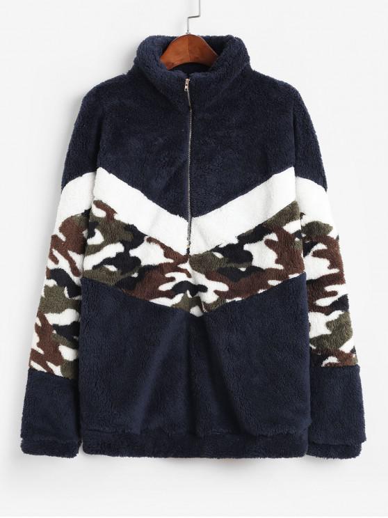 ladies Half Zip Camouflage High Neck Fluffy Sweatshirt - DEEP BLUE XL