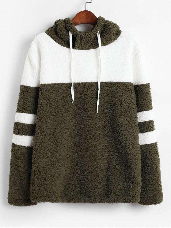 best Colorblock Faux Fur Drawstring Hoodie - ARMY GREEN L