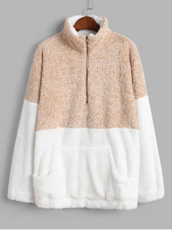 trendy Front Pocket Half Zip Contrast Fluffy Sweatshirt - YELLOW M
