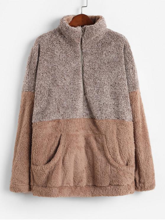 chic Front Pocket Half Zip Contrast Fluffy Sweatshirt - BROWN S