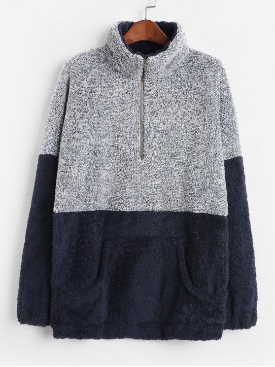 latest Front Pocket Half Zip Contrast Fluffy Sweatshirt - DEEP BLUE L
