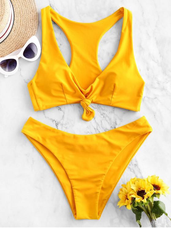 ladies ZAFUL Knotted Racerback Plunging Bikini Swimwear - RUBBER DUCKY YELLOW M
