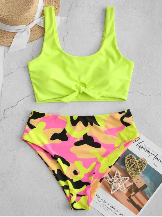 affordable ZAFUL Neon Knot Camo Tankini Swimsuit - GREEN YELLOW S