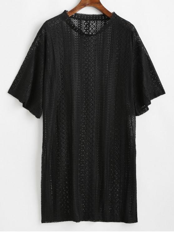 affordable Drop Shoulder Slit Guipure Lace Cover Up Top - BLACK ONE SIZE