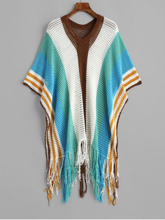 trendy Fringed Wide Striped Crochet Poncho Cover Up Top - MULTI-A ONE SIZE