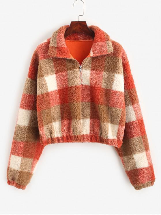 Plaid Crop Faux Fur Felpa - Multi Colori-C S