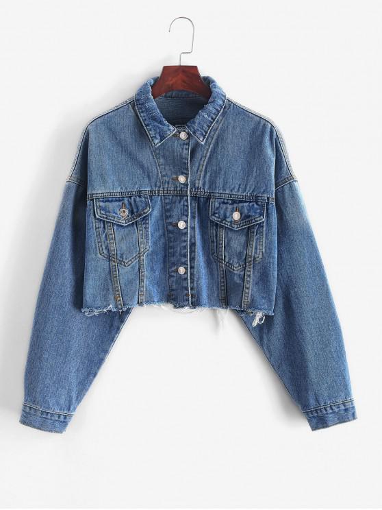 women's Drop Shoulder Raw Cut Pocket Ripped Jean Jacket - DEEP BLUE M