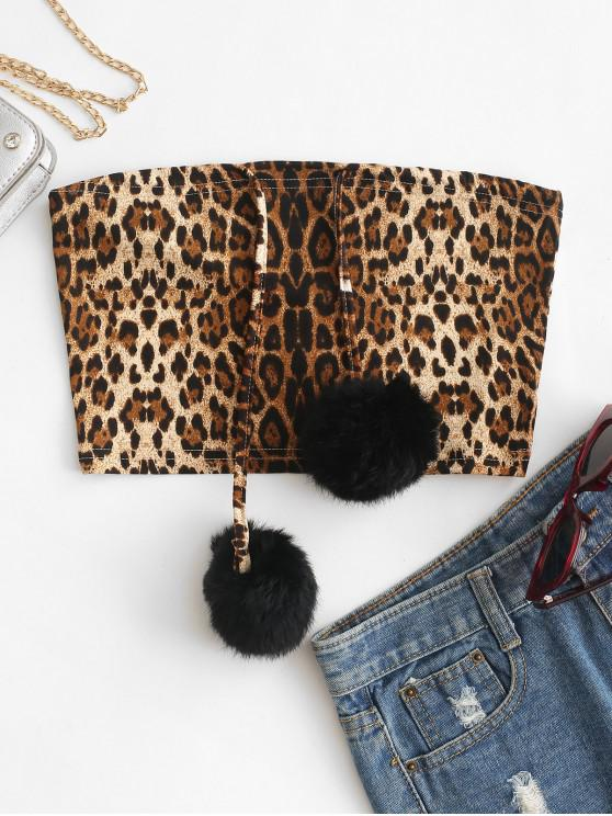 best Fluffy Pompoms Leopard Bandeau Top - LEOPARD S