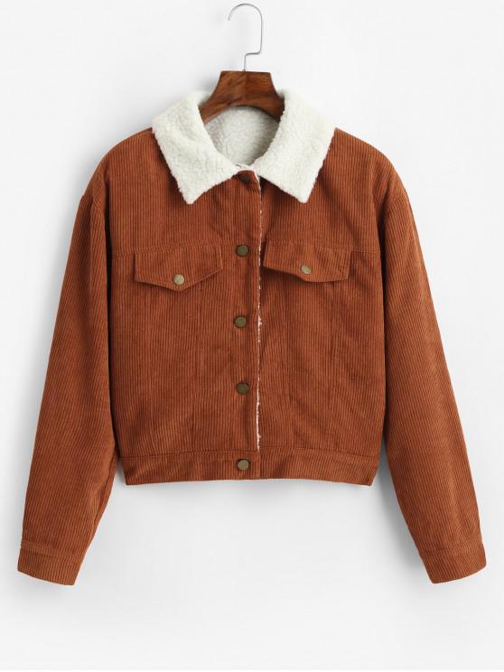 hot ZAFUL Fuzzy Corduroy Jacket - CARAMEL XL