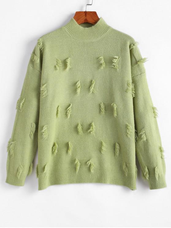 shops Fringed Detail Mock Neck Drop Shoulder Sweater - LIGHT GREEN ONE SIZE