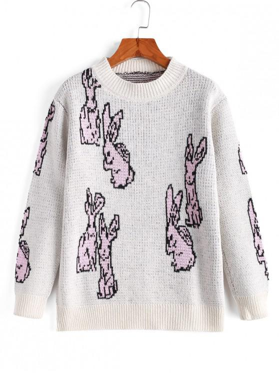chic Funny Mock Neck Rabbit Graphic Sweater - BEIGE ONE SIZE