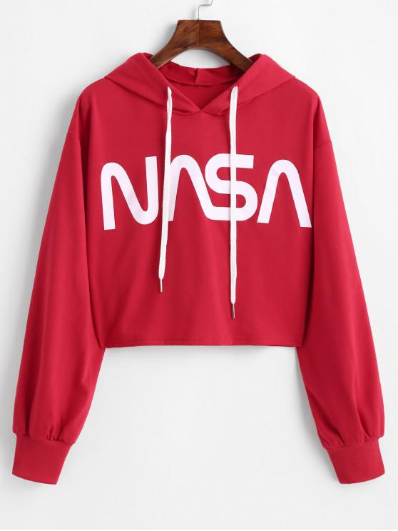 women ZAFUL Graphic Cropped Hoodie - LAVA RED S