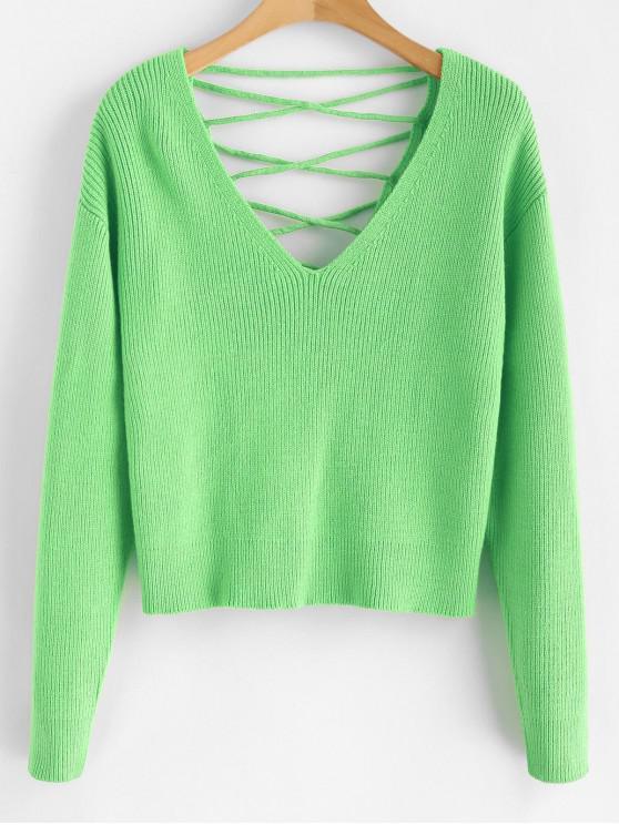 V Zurück Lace Up Sweater - Minzgrün M