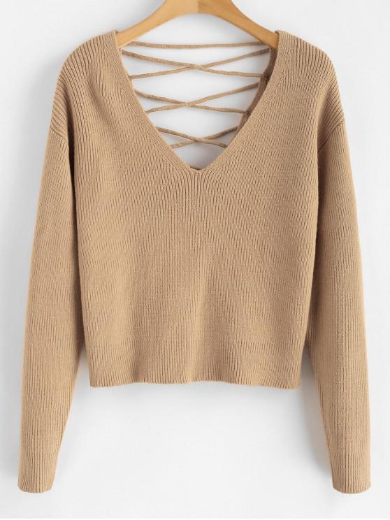 V Zurück Lace Up Sweater - Helles Khaki M