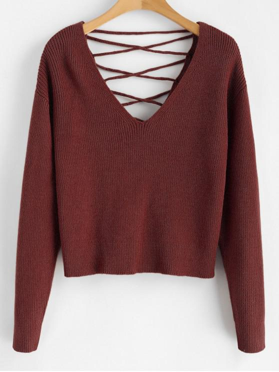 fashion V Back Lace Up Sweater - RED WINE S