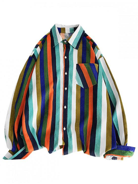 lady High Low Striped Chest Pocket Shirt - PAPAYA ORANGE M