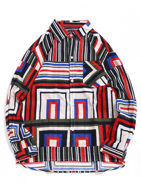 unique Geometric Stripes Print Chest Pocket High Low Shirt - CHESTNUT RED XL