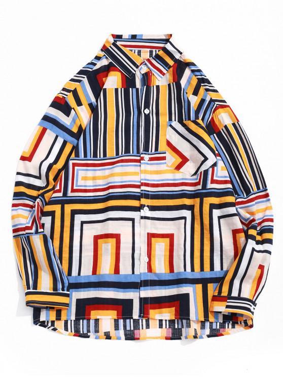 lady Geometric Stripes Print Chest Pocket High Low Shirt - CORN YELLOW L