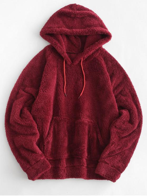 women Kangaroo Pocket Plain Faux Fur Hoodie - RED WINE S