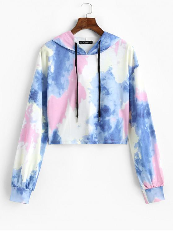 outfits ZAFUL Tie Dye Cropped Hoodie - MULTI S