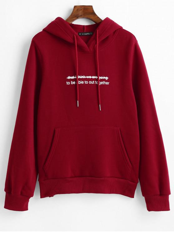 lady ZAFUL Fuzzy Lining Funny Graphic Hoodie - LAVA RED M