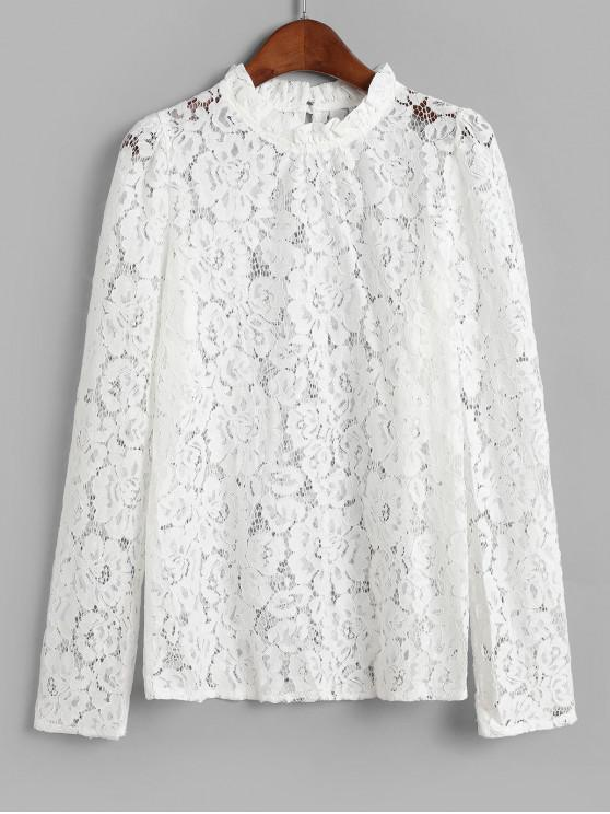 fashion Ruffled Neck See Through Lace Top - WHITE M