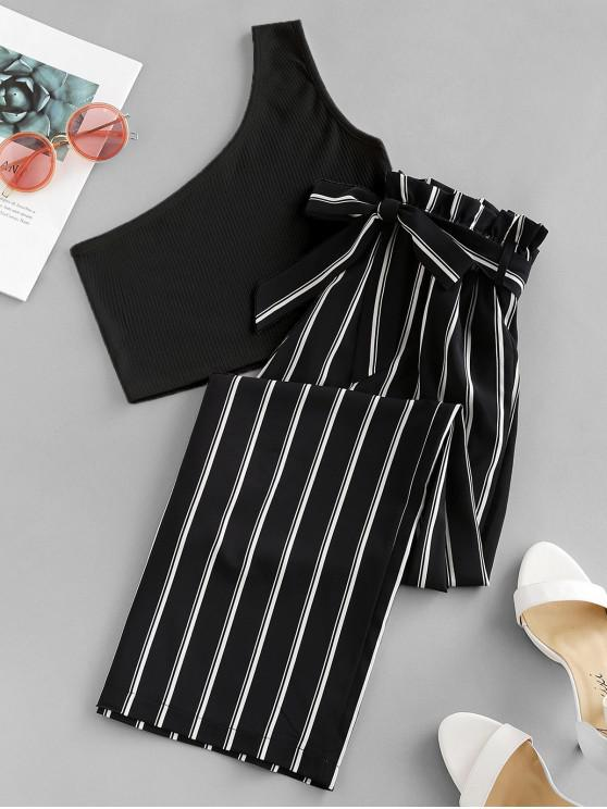 buy ZAFUL One Shoulder Striped Belted Two Pieces Suit - MULTI-A M