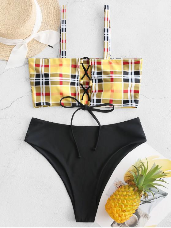 women ZAFUL Lace Up Plaid High Cut Contrast Tankini Swimsuit - BRIGHT YELLOW S