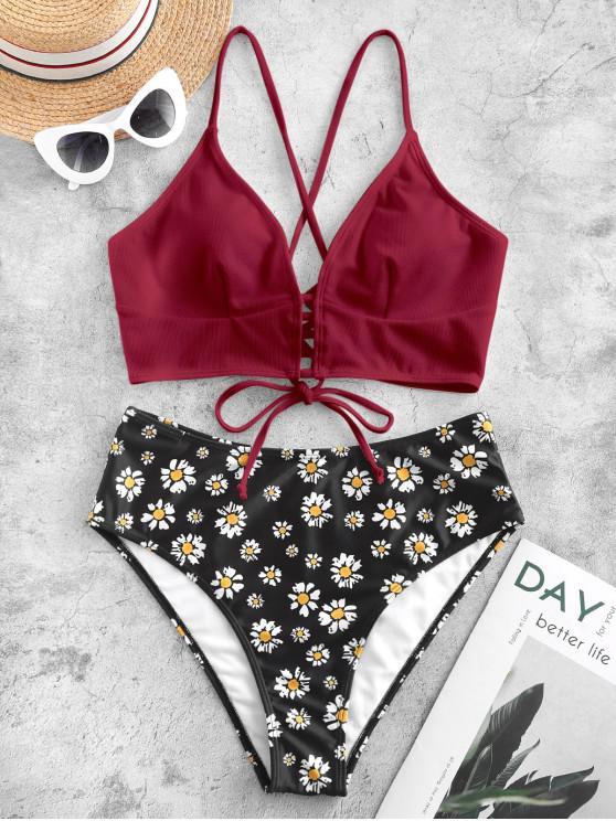 fancy ZAFUL Textured Crisscross Lace-up Daisy Print Tankini Swimsuit - RED WINE L