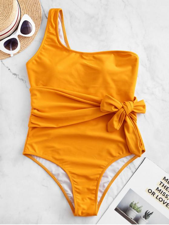 chic ZAFUL One Shoulder Belted One-piece Swimsuit - BRIGHT YELLOW M