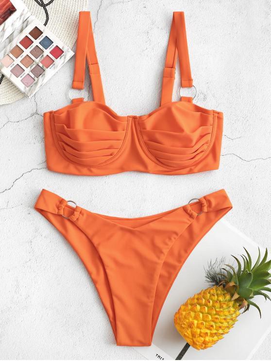 trendy ZAFUL O-ring Underwire Pleated Tie Bikini Swimsuit - MANGO ORANGE S