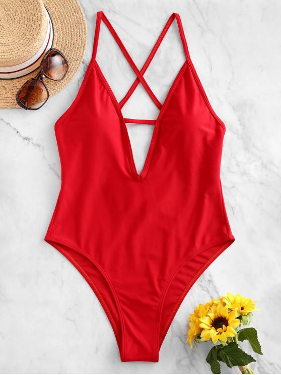 best ZAFUL Criss Cross Backless One-piece Swimsuit - RUBY RED M