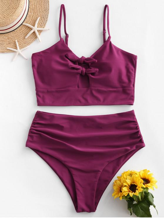 affordable ZAFUL Tied Hollow Out Tummy Control Tankini Swimsuit - PLUM PIE L